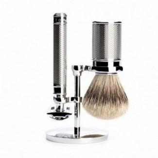 Chromen set met Safety Razor en Silvertip kwast